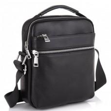 Мужская черная кожаная сумка через плечо Tiding Bag NM23-6013A - Royalbag Фото 2