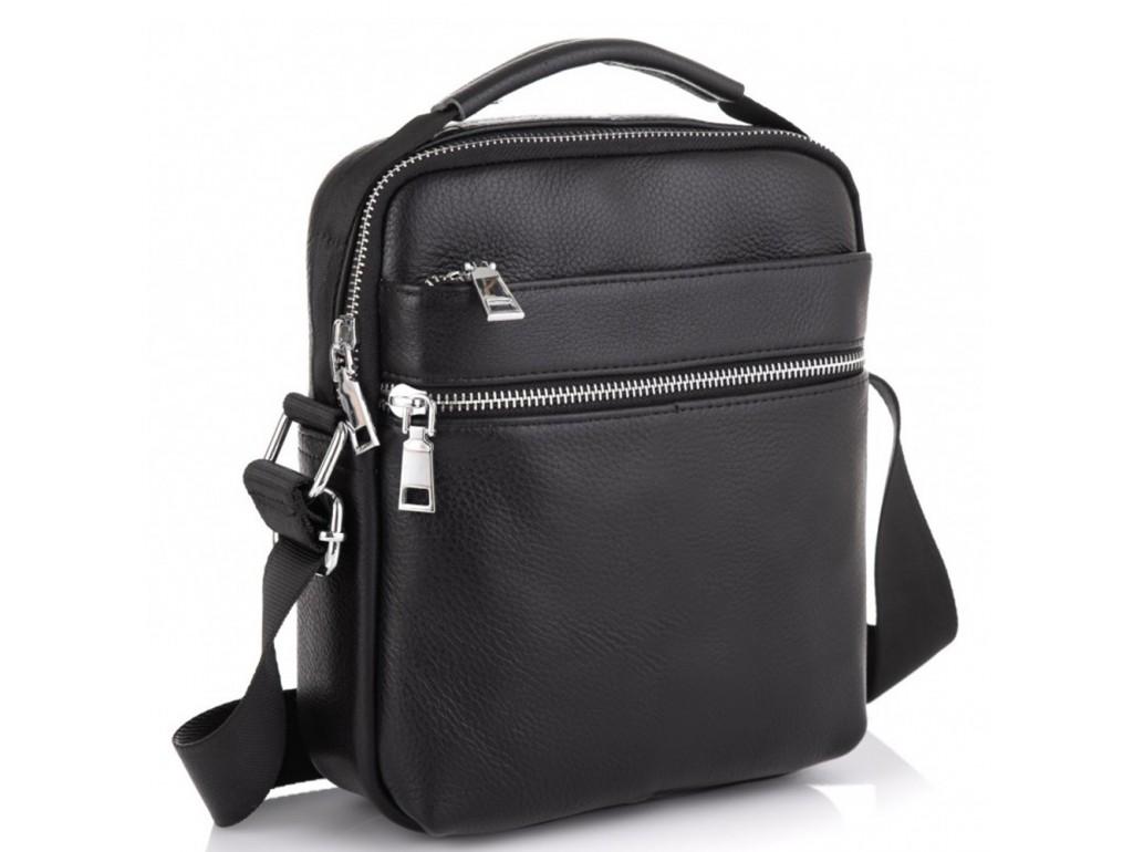 Мужская черная кожаная сумка через плечо Tiding Bag NM23-6013A - Royalbag Фото 1