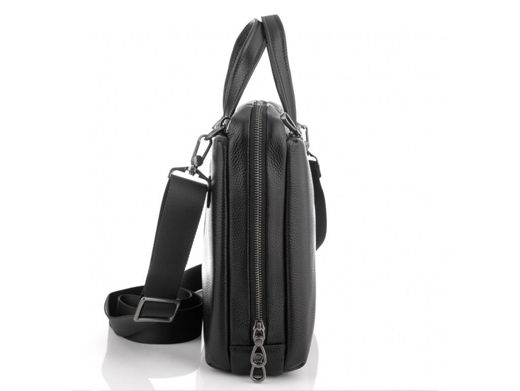 Сумка для ноутбука черная кожаная Tiding Bag NM29-88212-3A - Royalbag