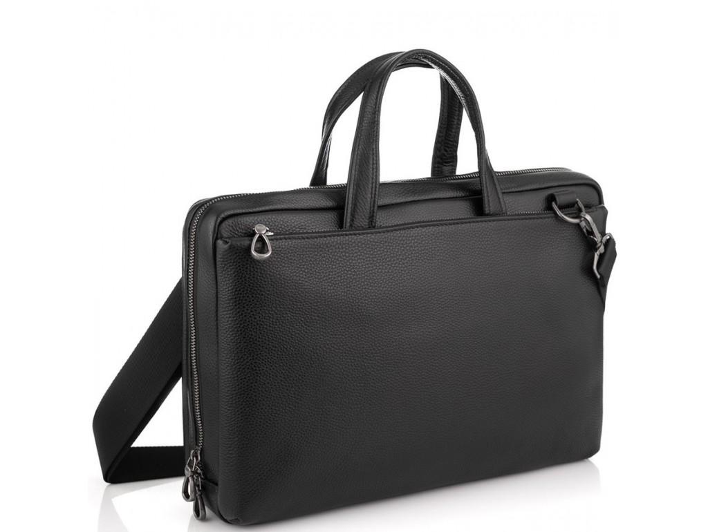 Сумка для ноутбука черная кожаная Tiding Bag NM29-88212-3A - Royalbag Фото 1