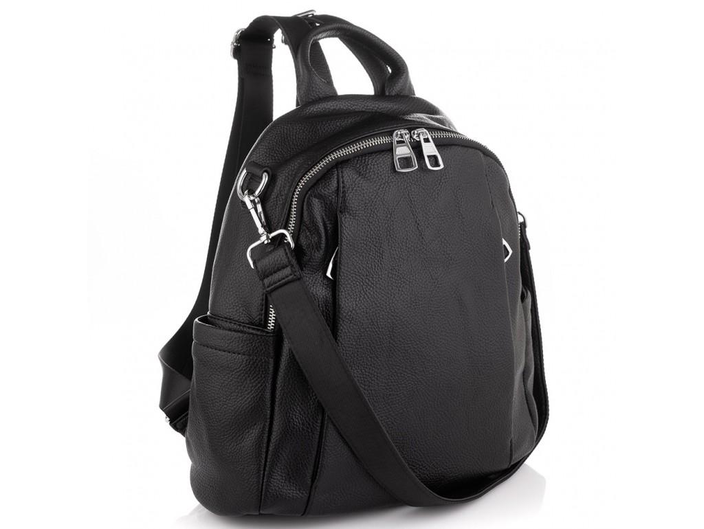 Женский черный кожаный рюкзак Olivia Leather NWBP27-002A - Royalbag Фото 1