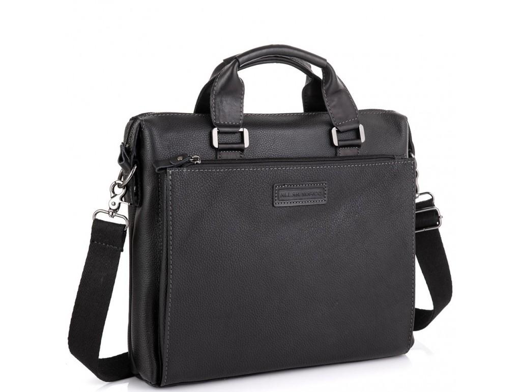Кожаная черная сумка для ноутбука Allan Marco RR-4102A - Royalbag Фото 1