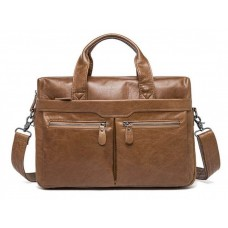 Мужская кожаная сумка для ноутбука и документов светло-коричневая Tiding Bag S-M56-7122C-2 - Royalbag