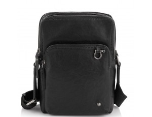 Сумка через плечо кожаная черная Tiding Bag SM13-0014A - Royalbag