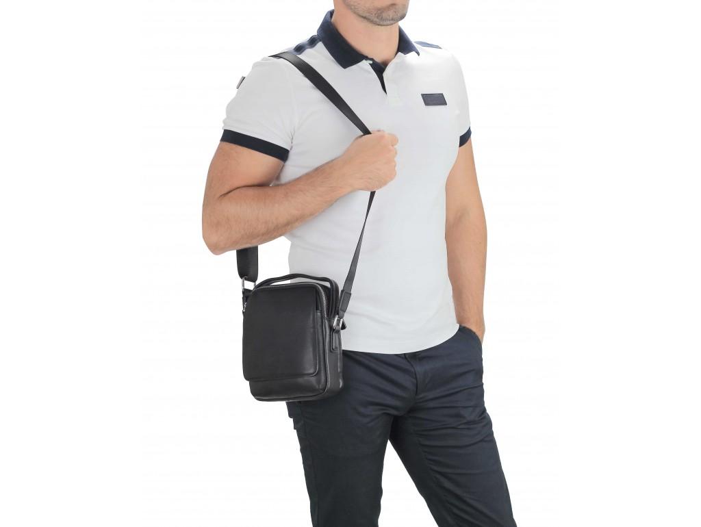 Мужская кожаная сумка на плечо черная Tiding Bag SM8-009A - Royalbag