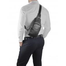 Мужской кожаный черный слинг на плечо Tiding Bag SM8-015A - Royalbag