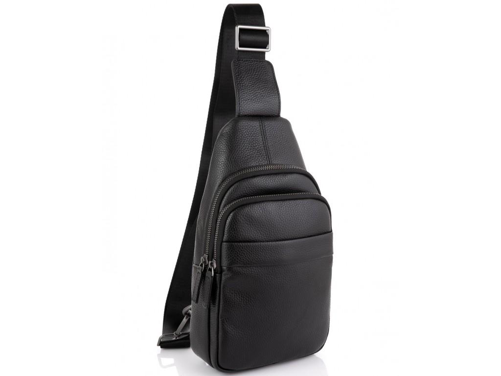 Мужской кожаный черный слинг на плечо Tiding Bag SM8-015A - Royalbag Фото 1