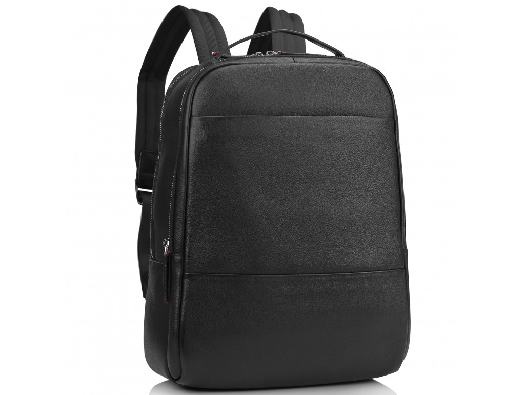 Мужской кожаный черный рюкзак для ноутбука Tiding Bag SM8-183A - Royalbag Фото 1