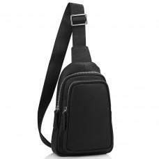 Мужской черный кожаный слинг на плечо Tiding Bag SM8-356A - Royalbag Фото 2