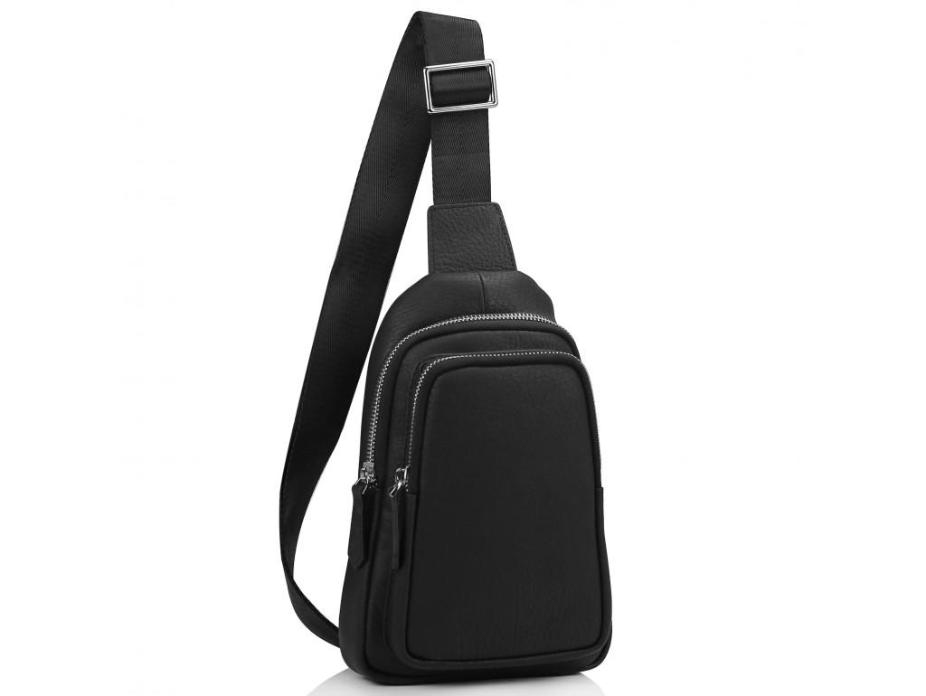 Мужской черный кожаный слинг на плечо Tiding Bag SM8-356A - Royalbag Фото 1