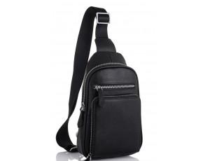 Мужская сумка-слинг кожаная черная Tiding Bag SM8-807A - Royalbag