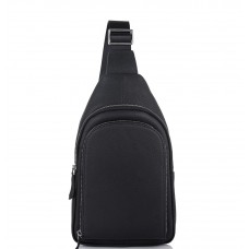 Мужская кожаная сумка-слинг черная Tiding Bag SM8-812A - Royalbag