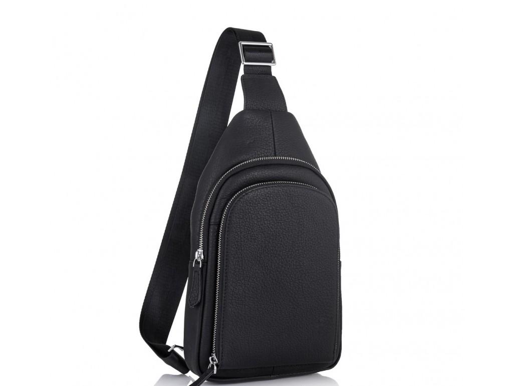 Мужская кожаная сумка-слинг черная Tiding Bag SM8-812A - Royalbag Фото 1