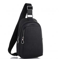 Мужская кожаная сумка-слинг черная Tiding Bag SM8-825A - Royalbag