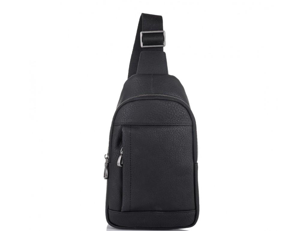 Мужская кожаная сумка-слинг черная Tiding Bag SM8-827A - Royalbag