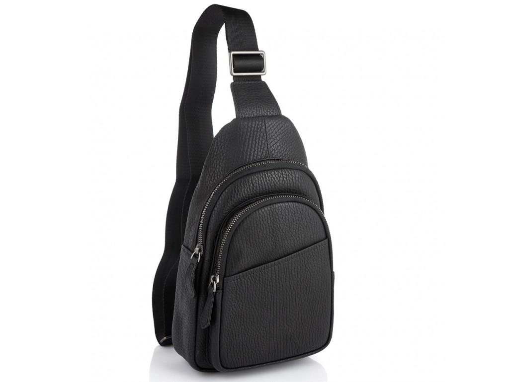 Мужская кожаная сумка-слинг черная Tiding Bag SM8-853A - Royalbag Фото 1