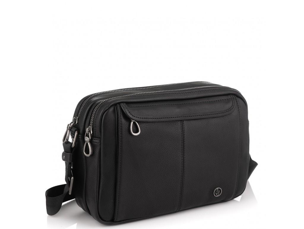 Горизонтальный кожаный мессенджер черный Tiding Bag SM8-8890-1A - Royalbag Фото 1