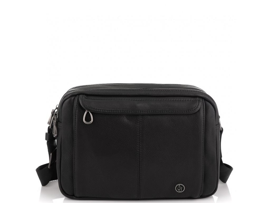 Горизонтальный кожаный мессенджер черный Tiding Bag SM8-8890-1A - Royalbag