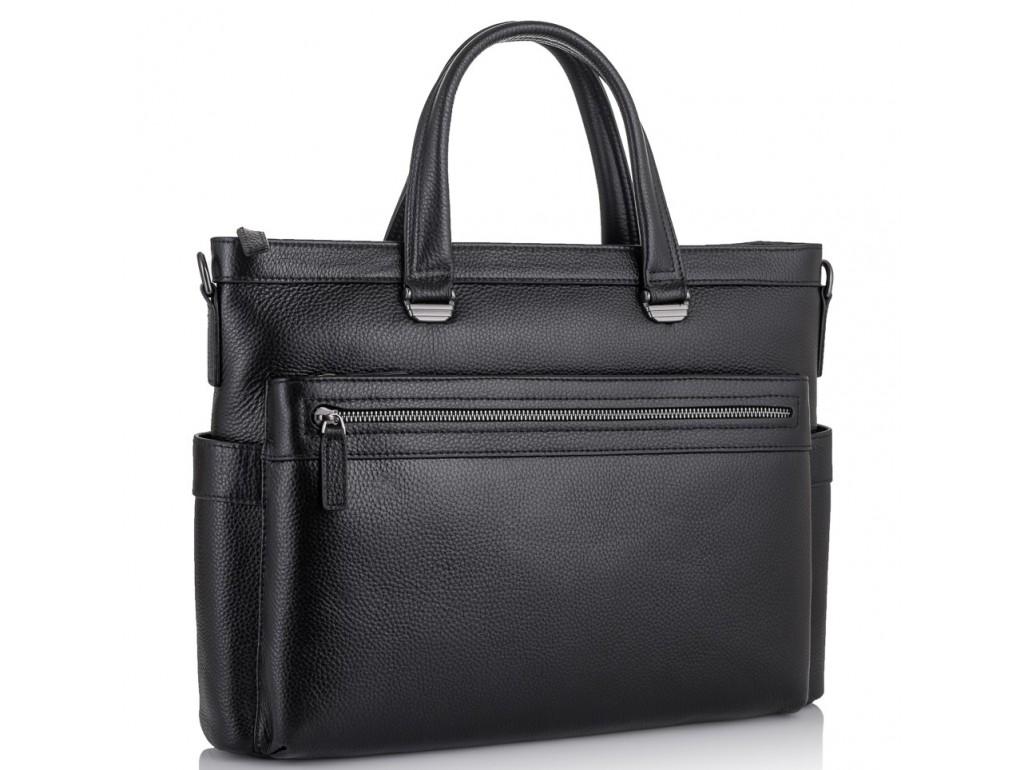 Классическая мужская черная кожаная сумка Tiding Bag SM8-8990-1A - Royalbag Фото 1