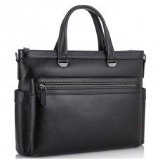 Классическая мужская черная кожаная сумка Tiding Bag SM8-8990-1A - Royalbag Фото 2