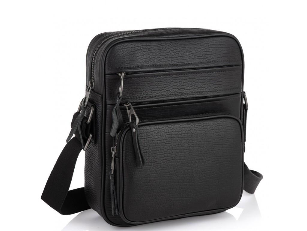 Мужская кожаная сумка через плечо черная Tiding Bag SM8-909A - Royalbag Фото 1