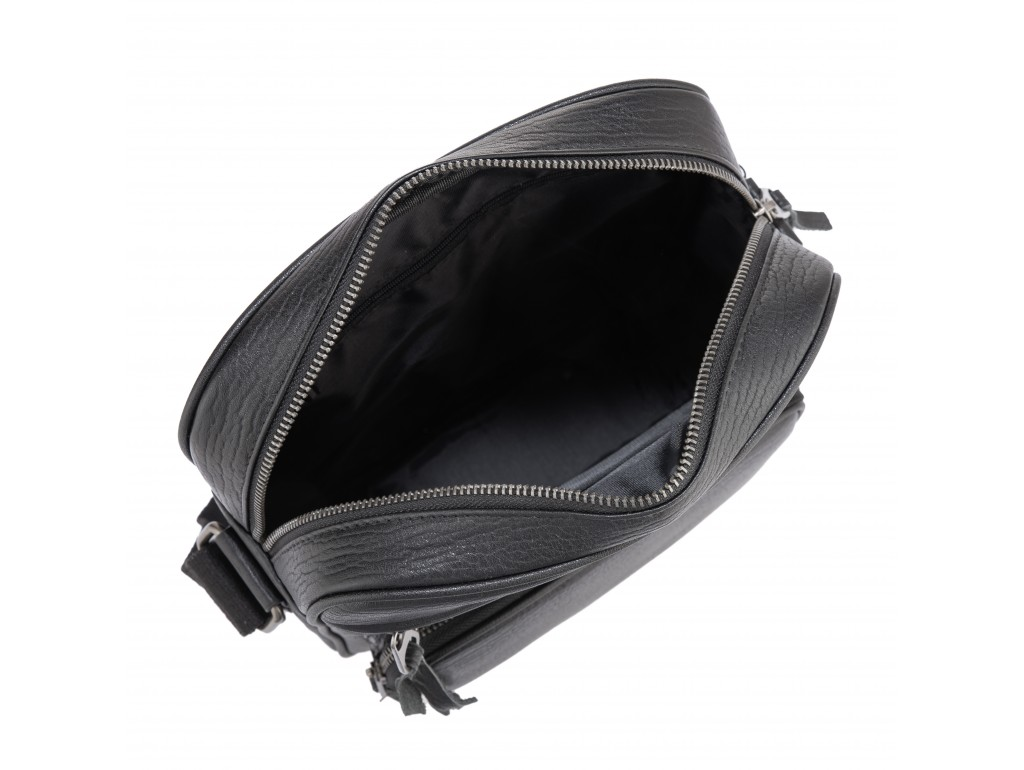 Мужская кожаная сумка через плечо черная Tiding Bag SM8-909A - Royalbag
