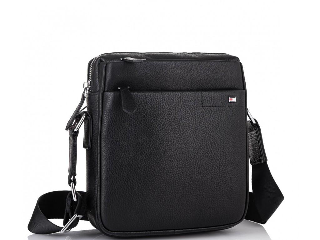 Мужская кожаная сумка через плечо черная Tiding Bag SM8-919A - Royalbag Фото 1