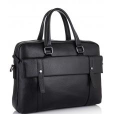 Классическая мужская черная кожаная сумка Tiding Bag SM8-9824-1A - Royalbag