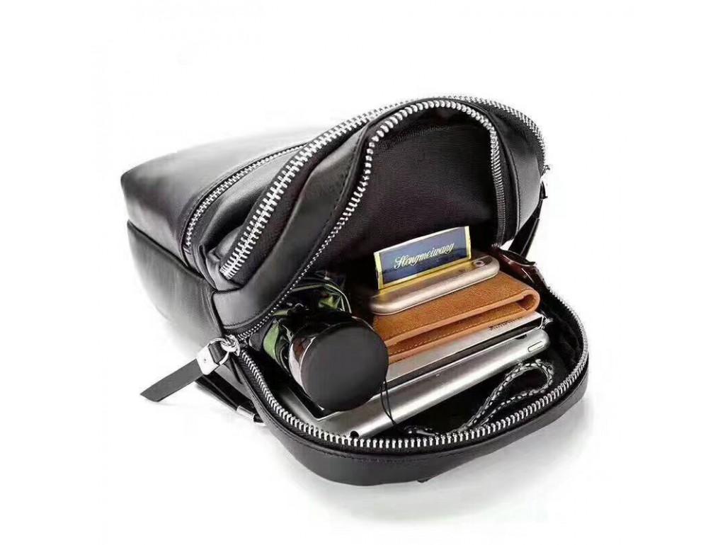 Мужская сумка-слинг через плечо черная гладкая кожа Tiding Bag B3-066A - Royalbag