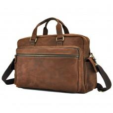 Мужская дорожная сумка из натуральной кожи с отделом для ноутбука Tiding Bag t0018 - Royalbag