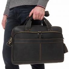Деловая мужская кожаная сумка для ноутбука и документов Tiding Bag t0033A - Royalbag