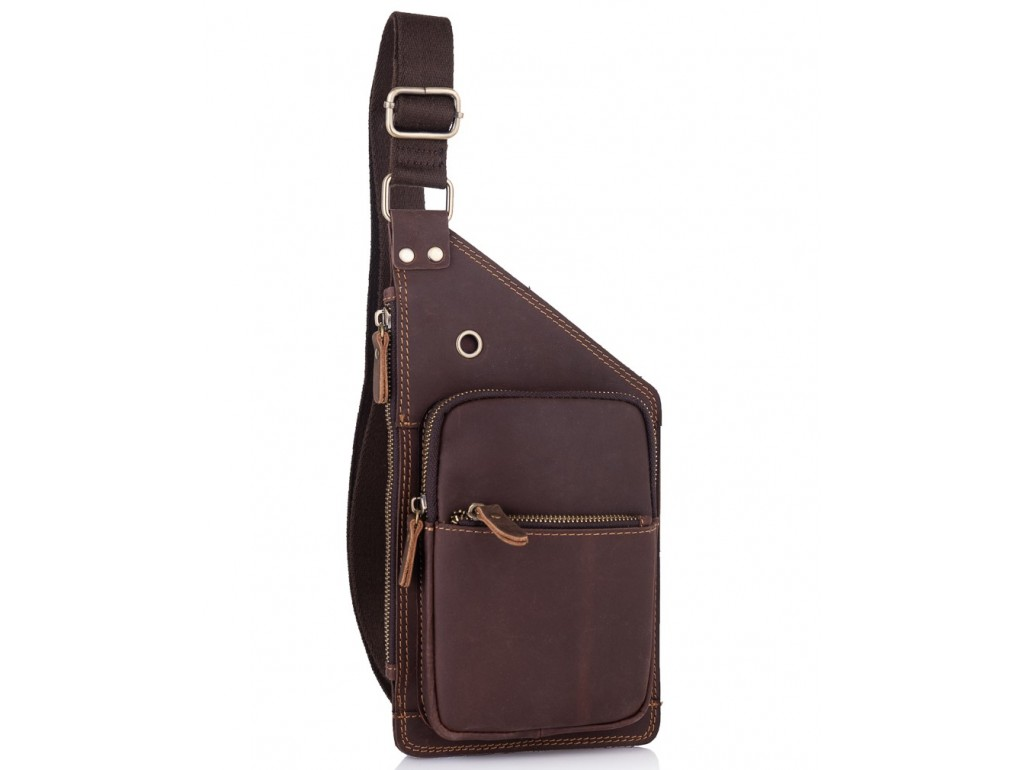 Мужской кожаный слинг в винтажном стиле коричневый Tiding Bag t0035 - Royalbag Фото 1