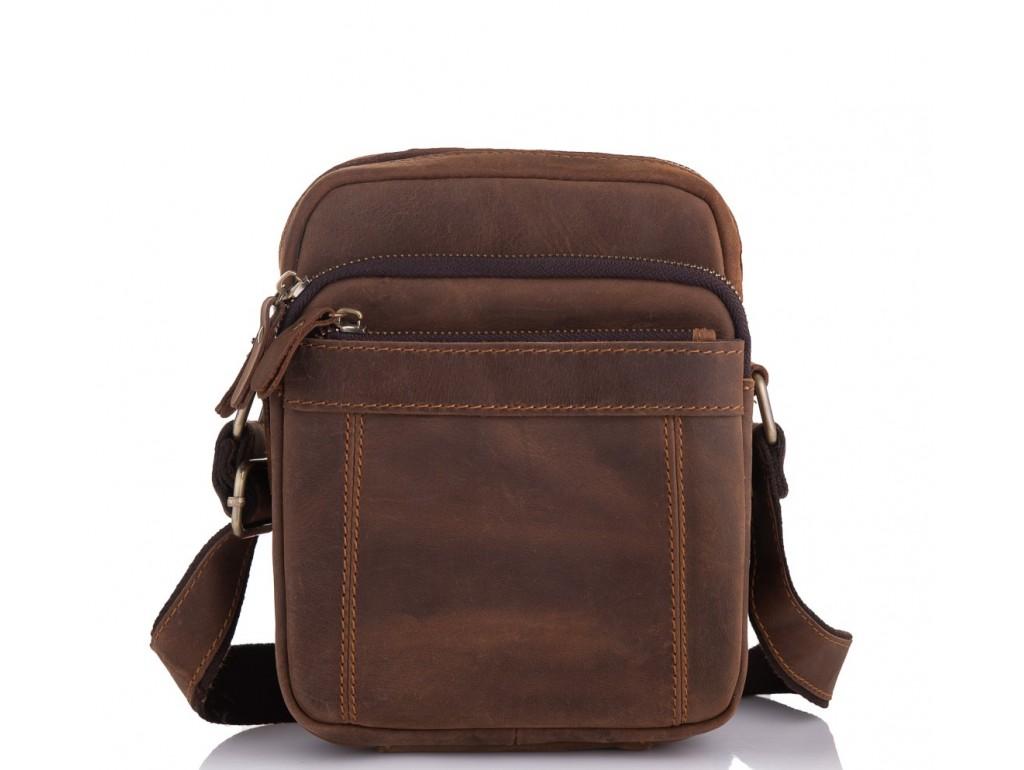 Мужская сумка на плечо коричневая кожаная Tiding Bag t0036 - Royalbag