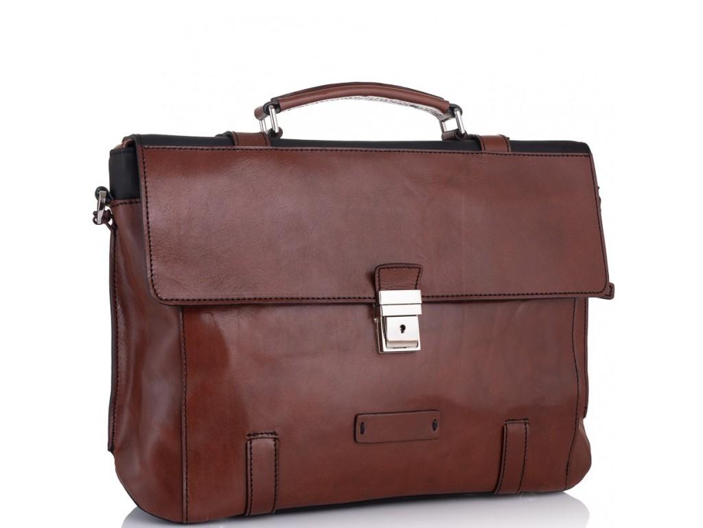 Стильный мужской кожаный коричневый портфель Tiding Bag t0041 - Royalbag Фото 1