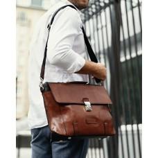 Стильный мужской кожаный коричневый портфель Tiding Bag t0041 - Royalbag