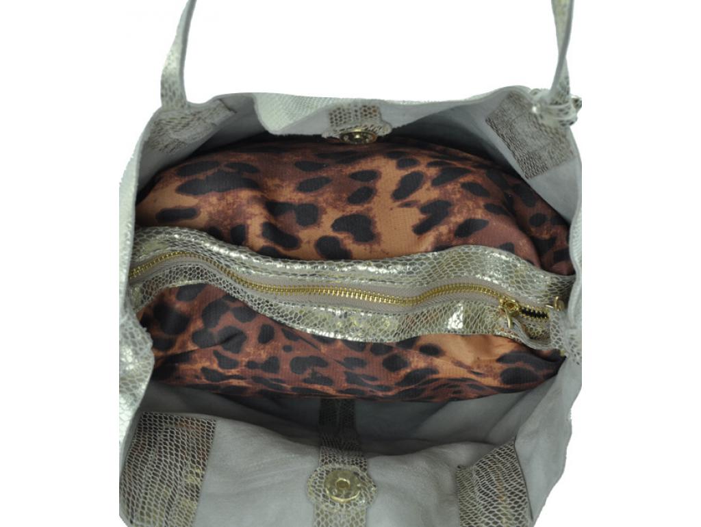 Женская кожаная сумка-шоппер золото UnaBorsetta W05-B6101-11GM - Royalbag