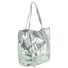 Женская кожаная сумка-шоппер серебро UnaBorsetta W05-B6101-11SM - Royalbag