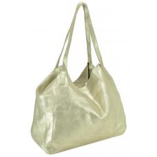 Женская кожаная сумка хобо шоппер золото UnaBorsetta W05-B958-18B - Royalbag