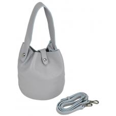 Женская кожаная сумочка-кисет серая UnaBorsetta W06-9039G - Royalbag