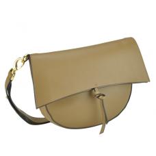 Женская кожаная сумка полумесяц фолдовер коричневая UnaBorsetta W12-830S-LB - Royalbag
