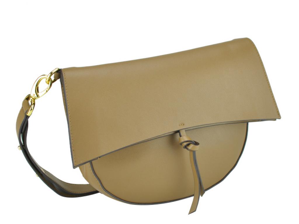 Жіноча шкіряна сумка полумісяць фолдовер коричнева UnaBorsetta W12-830S-LB - Royalbag