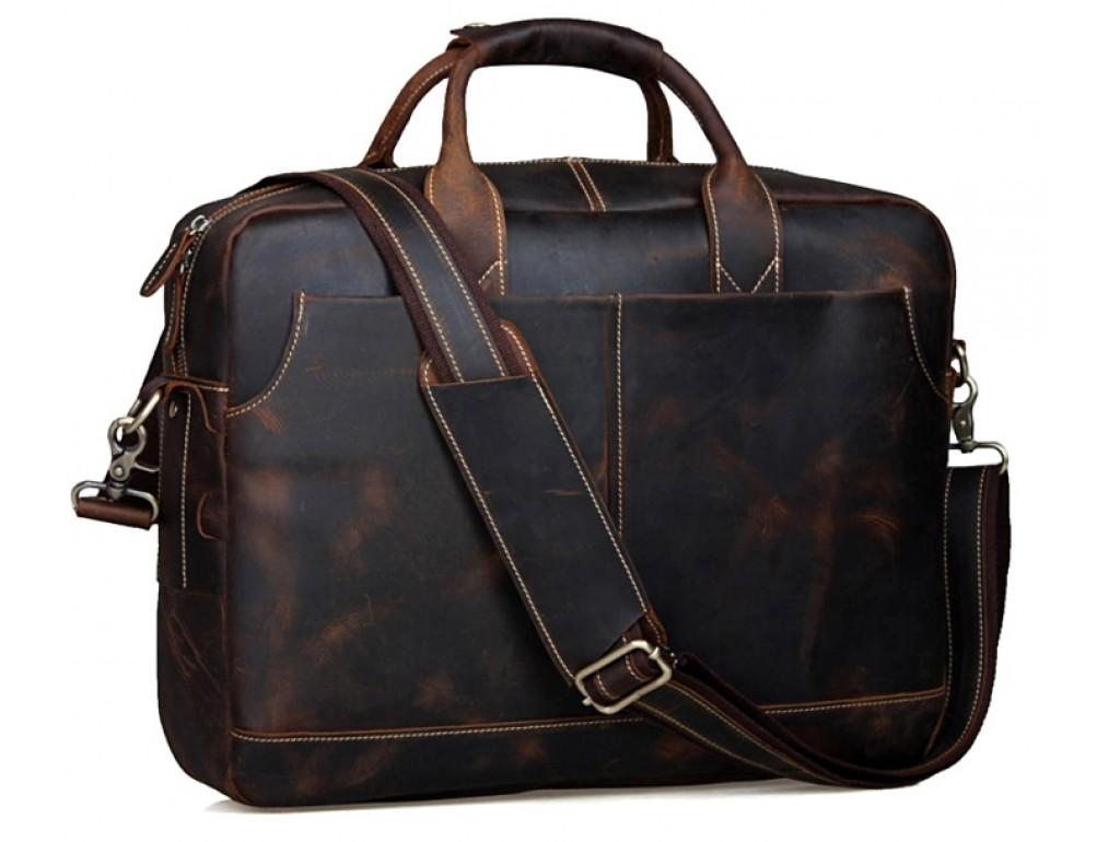 Стильная мужская сумка-портфель для документов из винтажной кожи Tiding Bag t1019 - Royalbag Фото 1