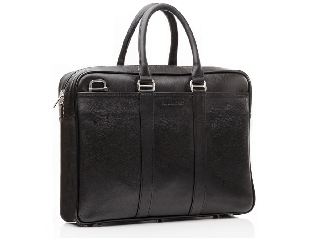 Классическая кожаная мужская сумка для ноутбука с наплечным ремнем Blamont Bn023A - Royalbag Фото 1