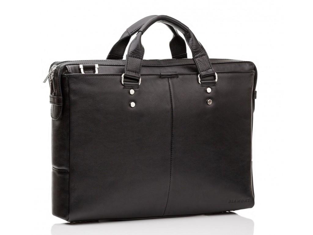 Чоловіча шкіряна ділова сумка з гладкої шкіри чорна Blamont Bn025A-1 - Royalbag Фото 1