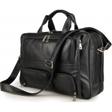 Многофункциональная сумка-портфель мужская кожаная на три отделения Jasper&Maine 7289A - Royalbag