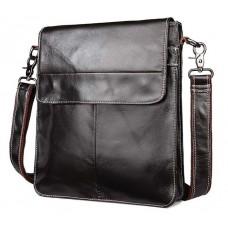 Мужская кожаная сумка через плечо плоская Bexhill L009 - Royalbag