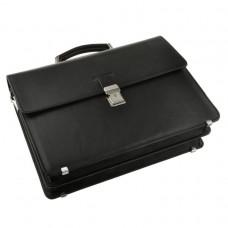 Мужской кожаный портфель с ручкой и наплечным ремнем Blamont Bn034A-1 - Royalbag