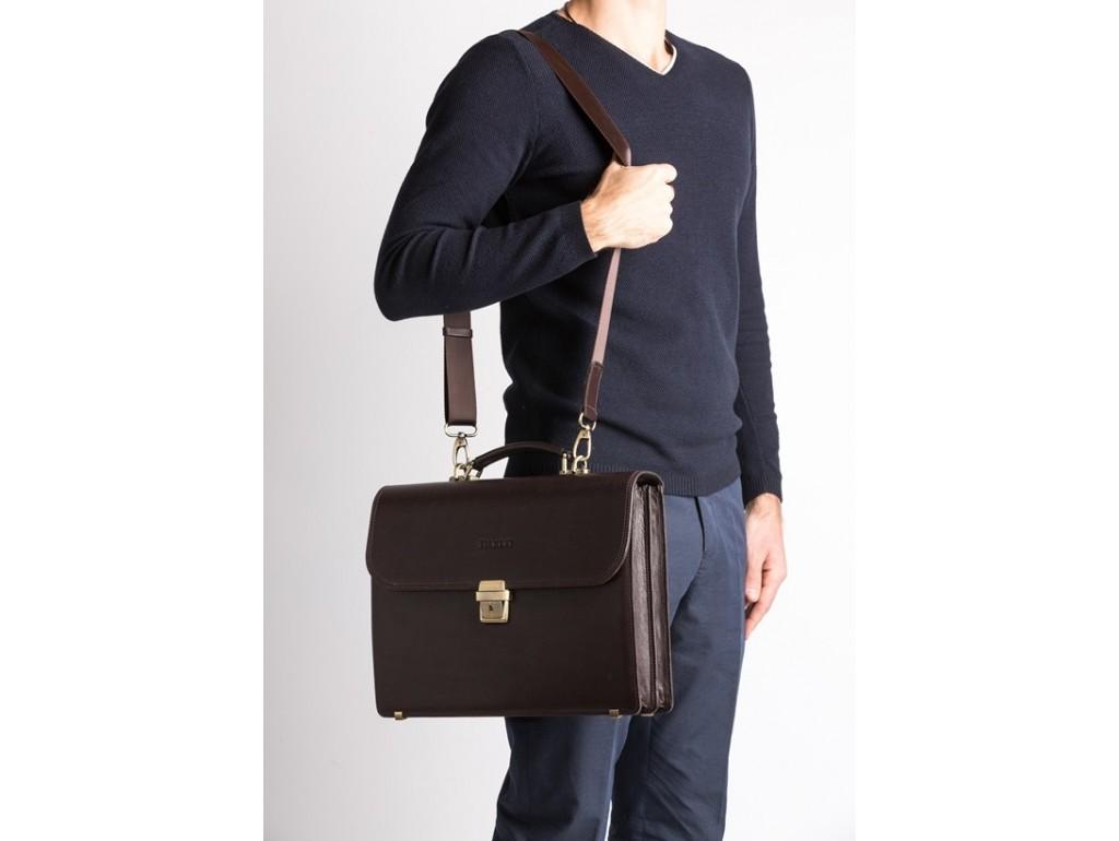 Классический портфель мужской кожаный коричневый элитный Blamont Bn039C - Royalbag