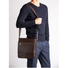 Мужская кожаная сумка через плечо шоколадный цвет Blamont Bn091C - Royalbag