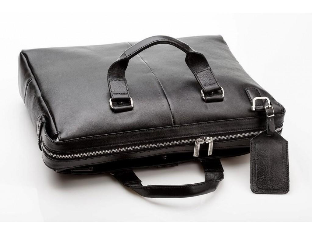Чоловіча шкіряна ділова сумка з гладкої шкіри чорна Blamont Bn025A-1 - Royalbag